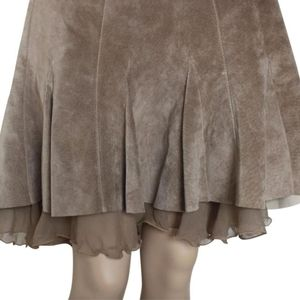 Womens Antropolog Leather Skirt With Sheer Ruffle